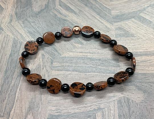 Mahogany Obsidian and Black Obsidian and Copper Stretchy Bracelet