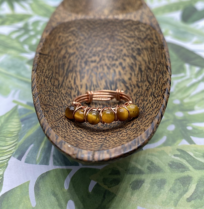 Tigers Eye Copper Stackable Ring   Size 9