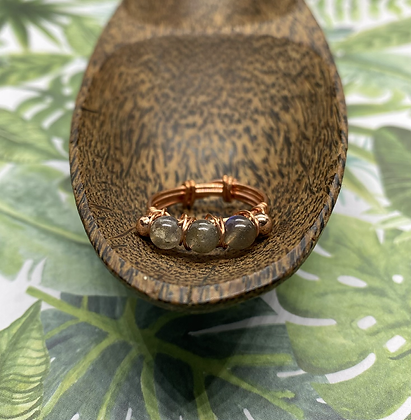 Labradorite and Copper Stackable Ring | Size 9.5
