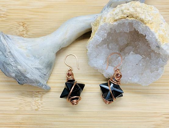 Obsidian and Copper Merkaba Earrings