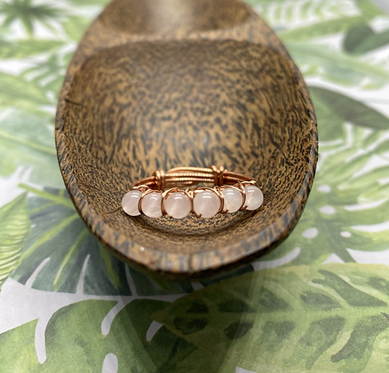 Rose Quartz and Copper Stackable Ring   Size 11.5
