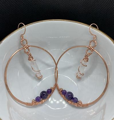 Large Quartz Points and Amethyst Hoop Earrings