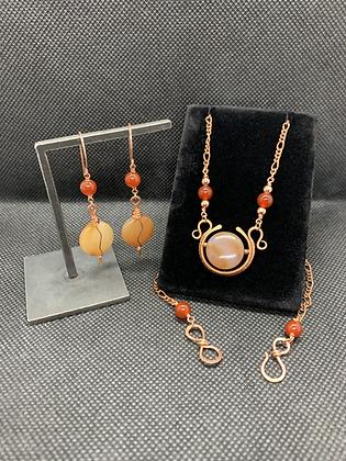Carnelian Winged Sun Disk Jewelry Set