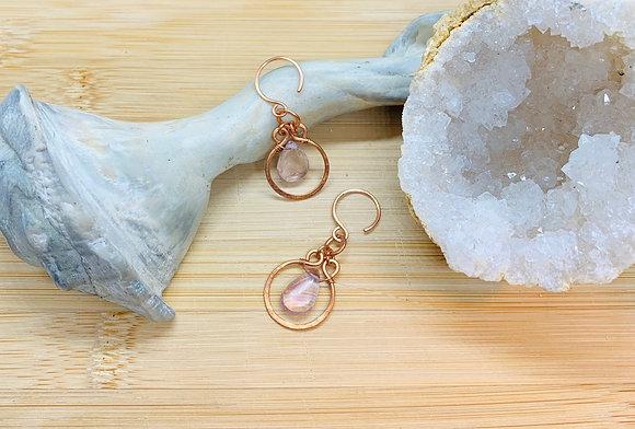 Lavender Amethyst and Copper Hoop Earrings