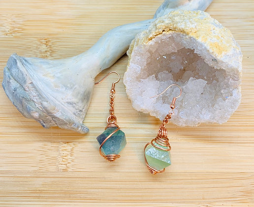 Green Fluorite Octahedrons and Copper Earrings