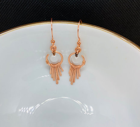 Selenite and Hammered Copper Earrings