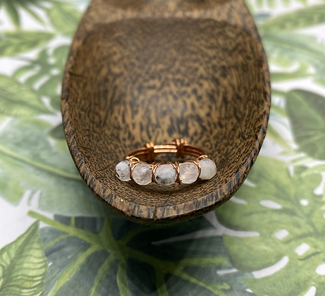 Rainbow Moonstone and Copper Stackable Ring | Size 7