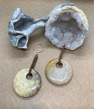 Fossil Coral and Copper Ear Weights