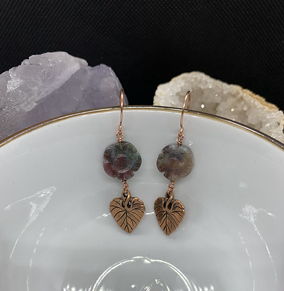 Jasper Flower and Copper Philodendron Leaf Charm Earrings