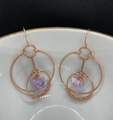 Raw Amethyst Orbit Hoop Earrings