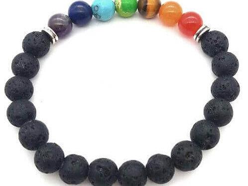 Bracelet PIERRES DE LAVE + 7 chakras