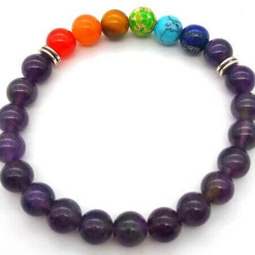 Bracelet AMÉTHYSTE + 7 chakras