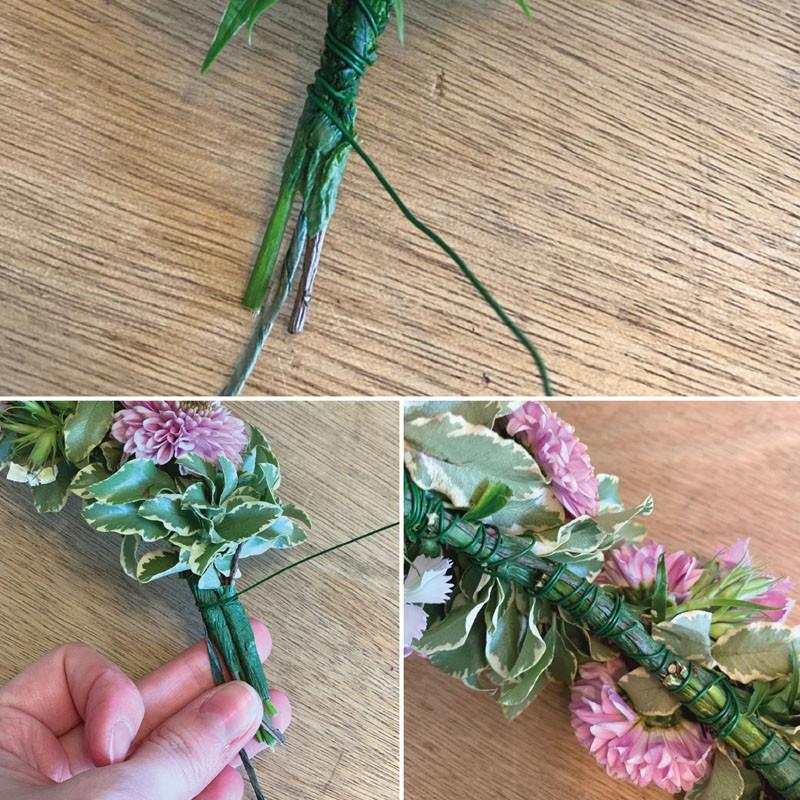 creare coroncina fiori freschi