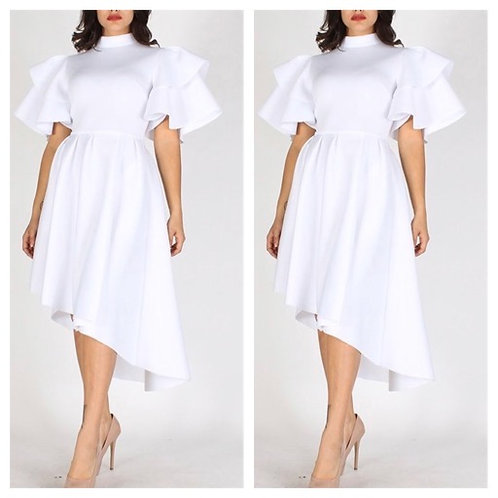 Fit and Flare Midi Dress-White