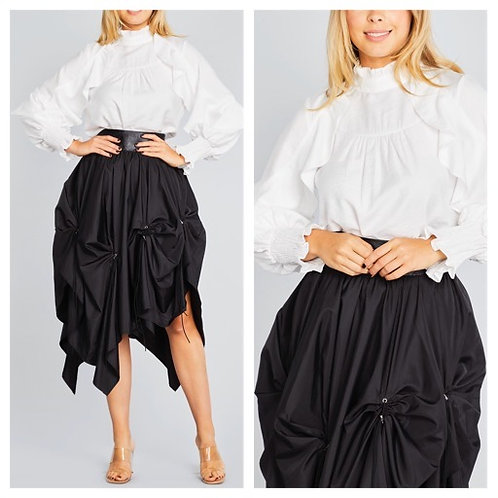 High Neck Ruffle Sleeve Blouse-White