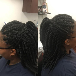 Individual Twists with Crocheted Middle.