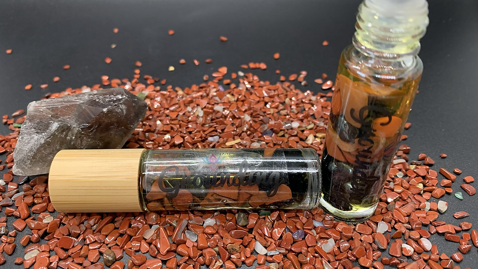 Grounding - Crystal Infused Aromatherapy roller bottle