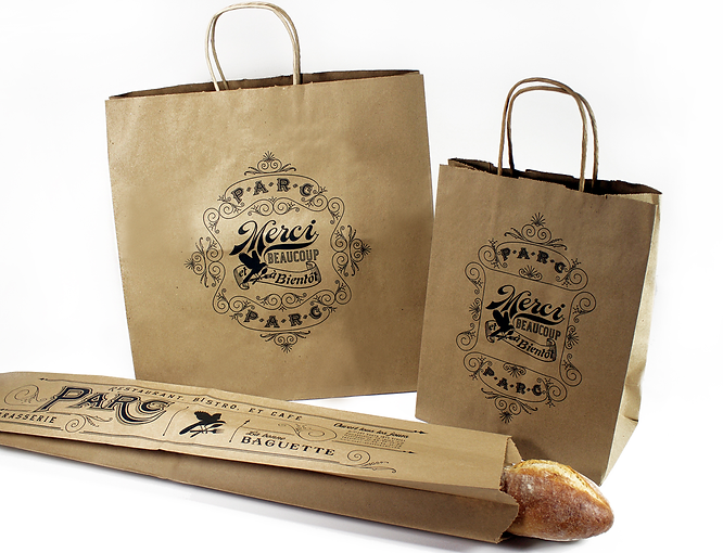 Hospitality Packaging for Parc, Recycled Take-Out Bags, Bread Bag by Commonwealth Packaging Co.