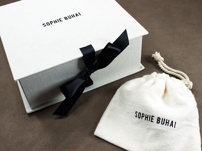 Sophie Buhai custom linen box, custom printed pouch by Commonwealth Packaging Co.