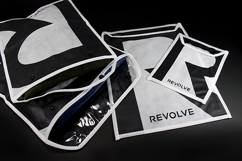 Revolve custom snap-closure E-Commerce Packaging by Commonwealth Packaging Co. clothing pouch
