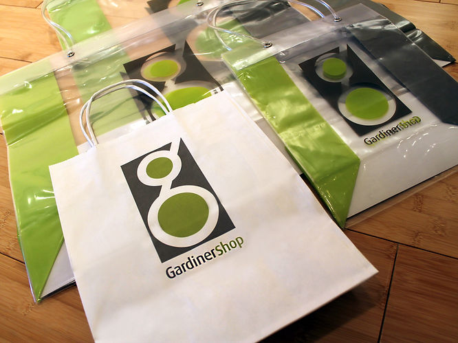 Custom printed shopping bags for the Gardiner Shop Museum by Commonwealth Packaging Co.