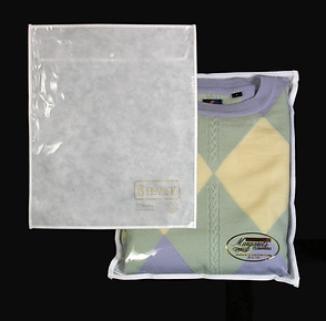 Custom printed drycleaner sweater bags by Commonwealth Packaging Co.