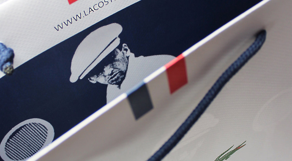 Lacoste custom retail packaging, custom shopping bags, custom printed boxes by Commonwealth Packaging Co.