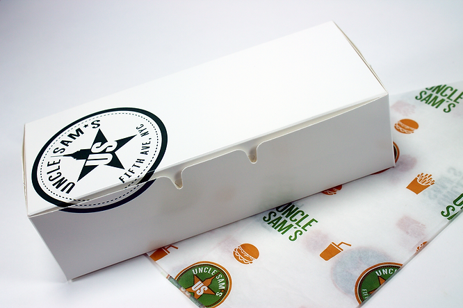 Hospitality Packaging, Custom printed waxed paper, custom take-out box by Commonwealth Packaging Co.