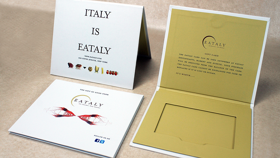 Eataly custom printed gift cards and carriers by Commonwealth Packaging Co.