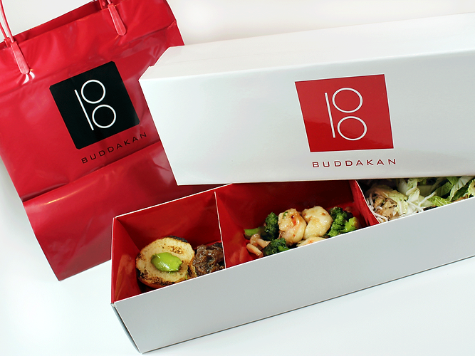Buddakan Custom Bento Box, Takeout Bag, Hospitality Packaging by Commonwealth Packaging Co.