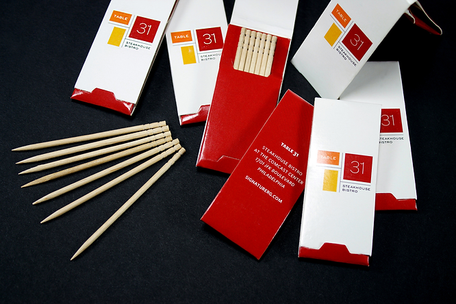 Custom Printed Toothpick Holders, Hospitality Packaging by Commonwealth Packaging Co.