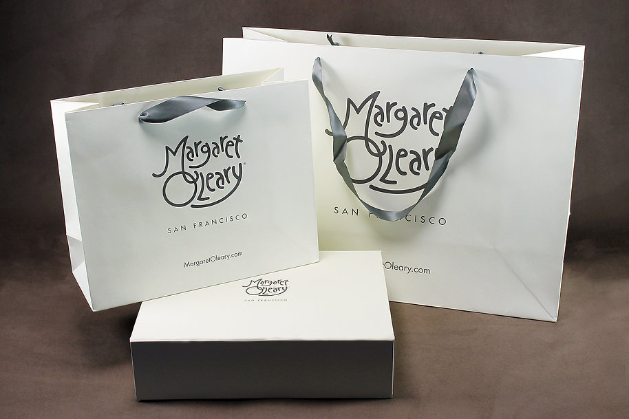 Margaret O'Leary Custom printed shopping bag and specialty box by Commonwealth Packaging Co.