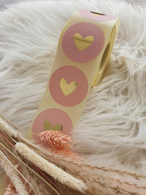 Sticker Rosa mit Goldenem Herz