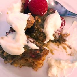Hazelnut Honey Cake and Raspberries