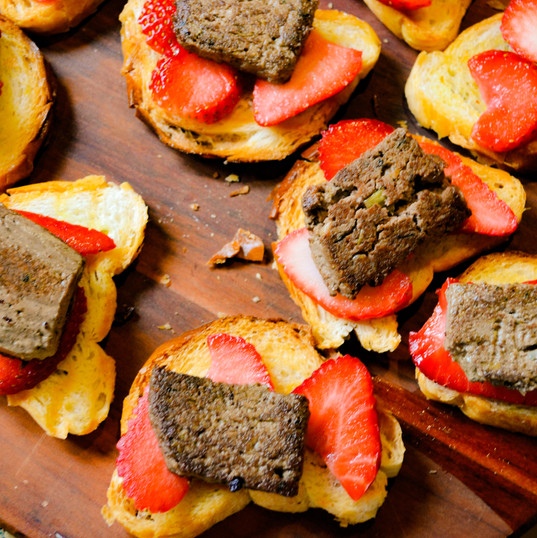 Seared Chicken Liver Pate on a Strawberry Crostini