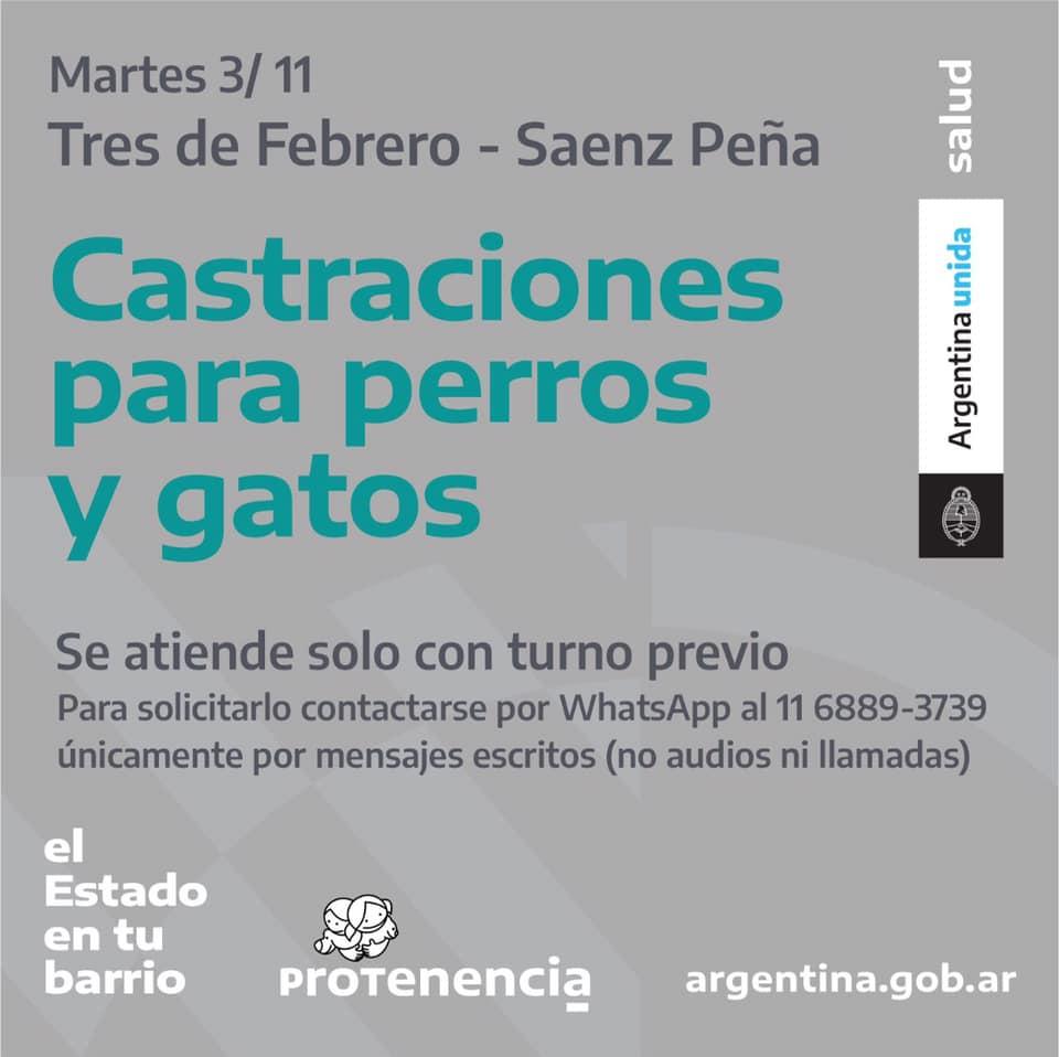 Castraciones en 3 de Febrero- Saenz Peña el 3/11/2020