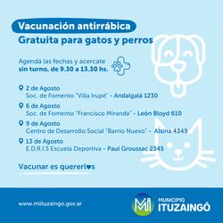 ITUZAINGÓ VACUNACIÓN ANTIRRÁBICA GRATUITA AGOSTO