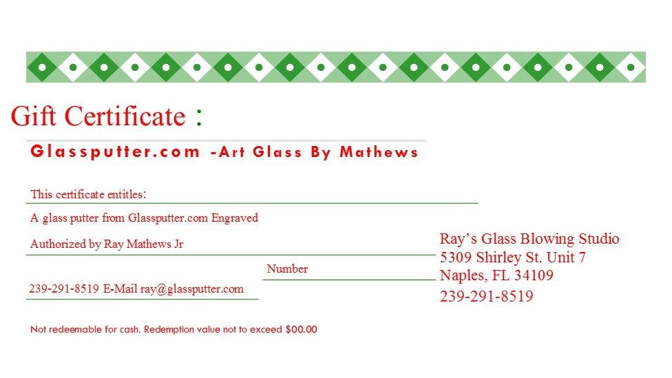 Gift Certificate: GlassPutter (Engraved)