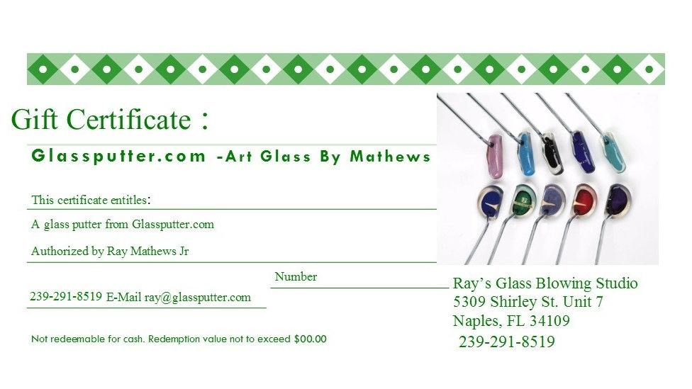 Gift Certificate: GlassPutter (Non-Engraved)