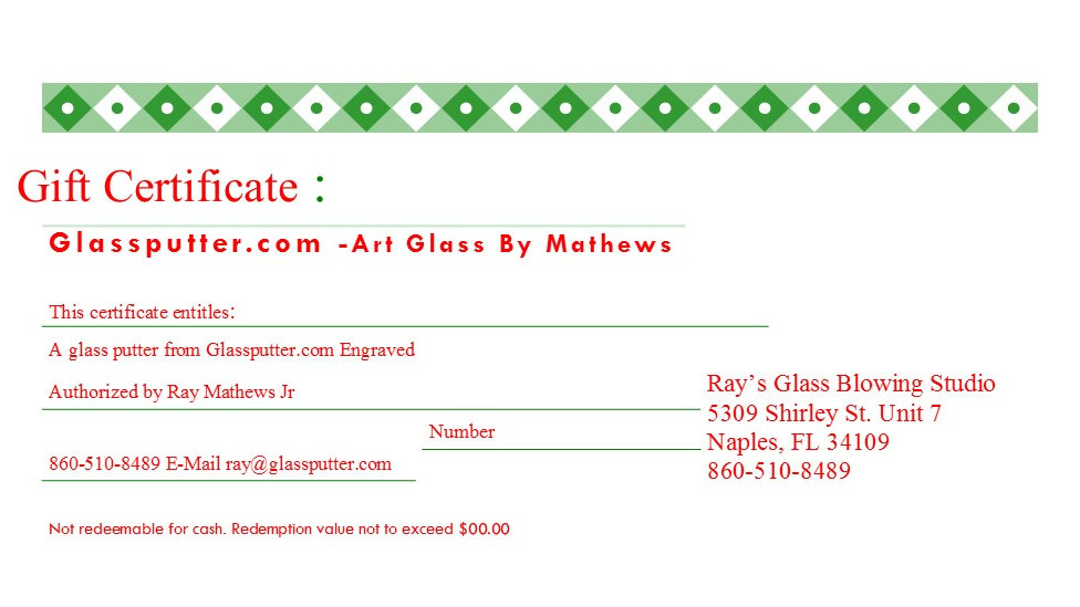 Gift Certificate: GlassPutter (Engraved)