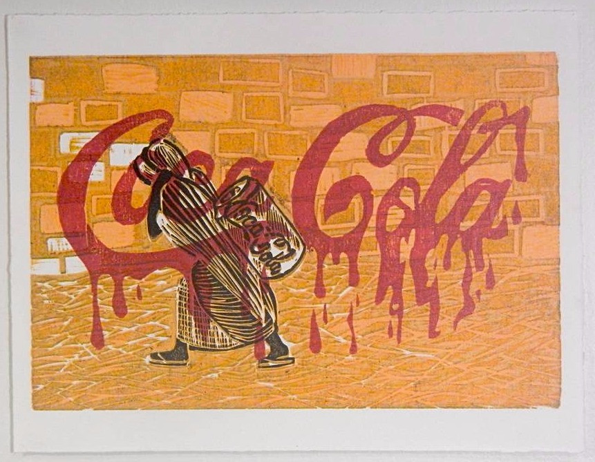 'Coca Cola' 2014, reduction wood block prink.