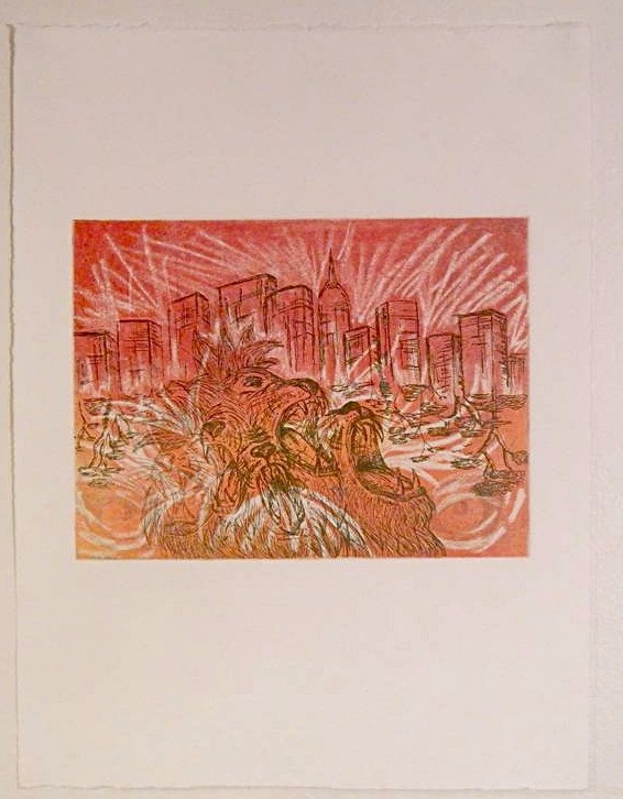 'Concrete jungle' 2014, etching
