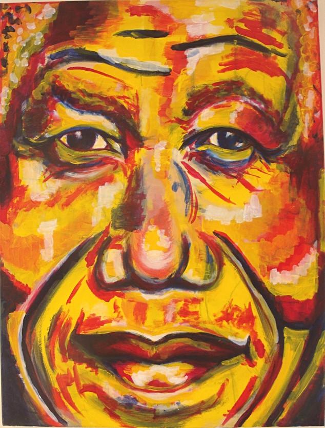 'Mandela' 2015, acylic and crayon