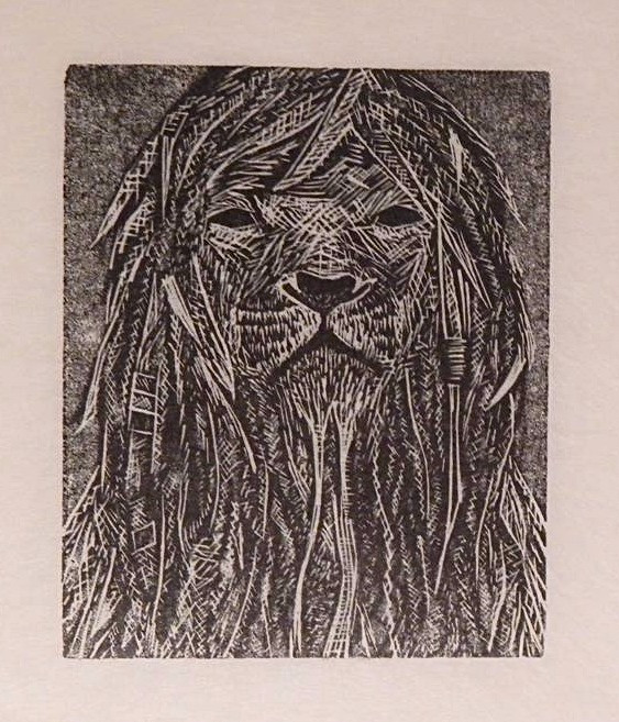 'Rasta lion' 2014, wood engraving