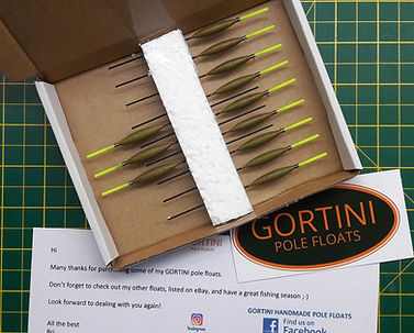 Boxed GORTINI POLE FLOATS ready for postage