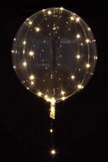 Čirý balónek s bílým LED řetězem 5 m