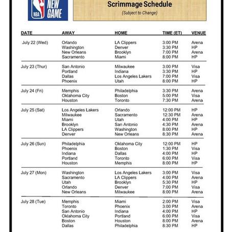 La NBA poste des matchs d'entraînement pour les équipes
