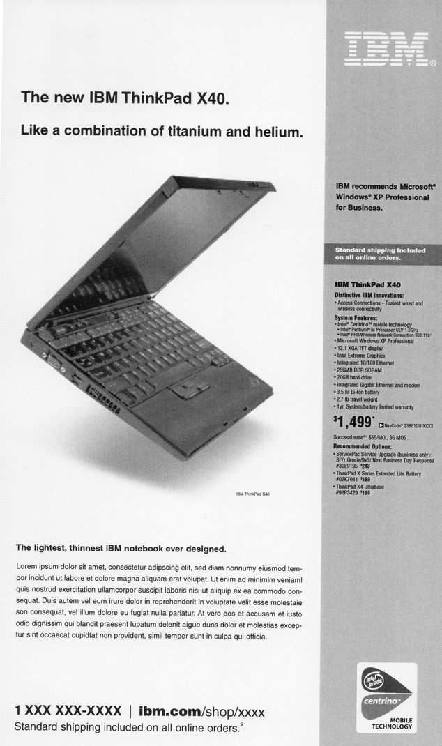 ThinkPad newspaper ad