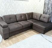 Перетяжка углового дивана флоком