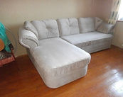 Перетяжка углового дивана велюром